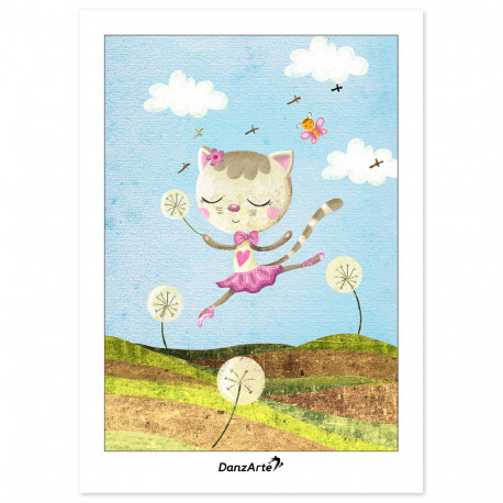 "DanzArte ""Dancing Cat On Meadow"" Képeslap"
