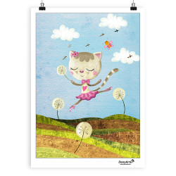 "DanzArte ""Dancing Cat On Meadow"" Poster"