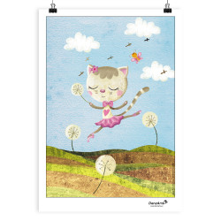 "DanzArte ""Dancing Cat On Meadow"" A3 Poszter"