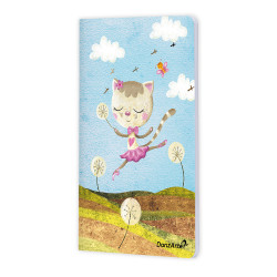 """Dancing Cat On Meadow"" A6 Notebook matt, laminiert"